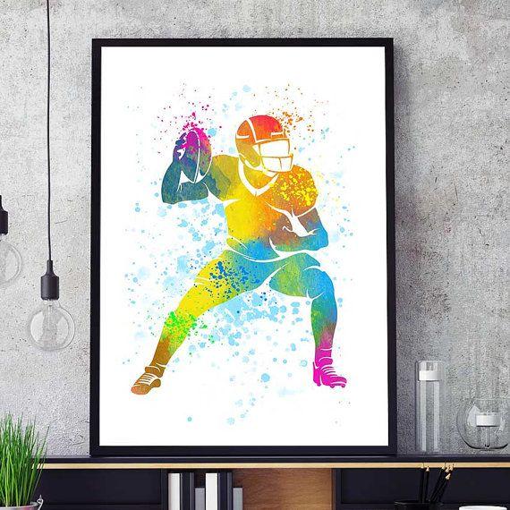 Nfl Wall Art football print, nfl watercolor prints, football wall art, sports