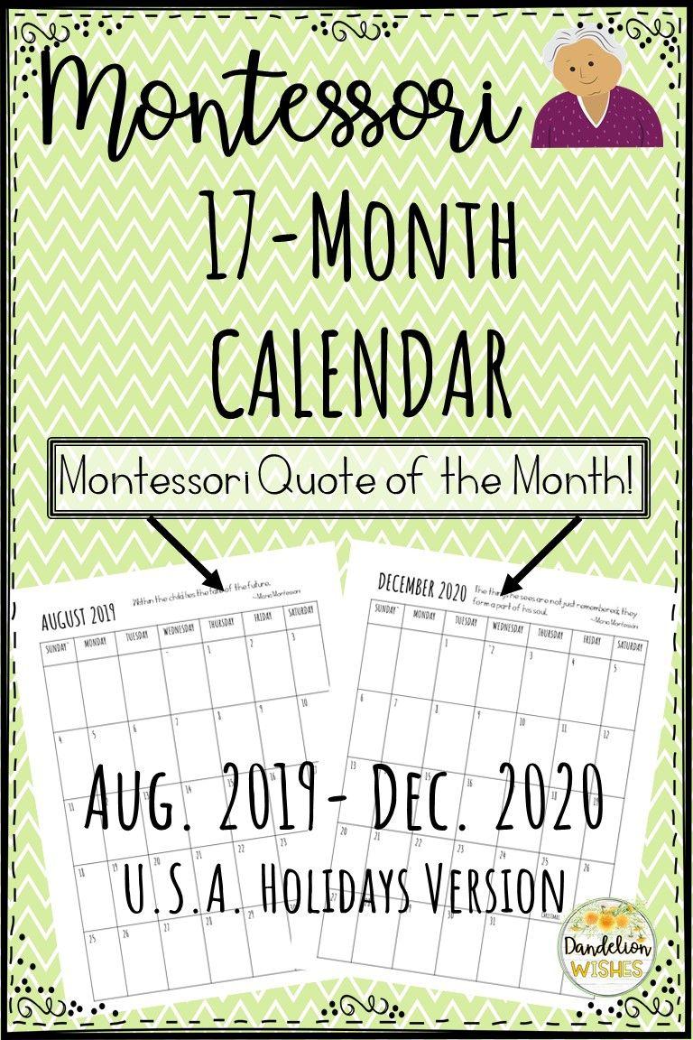 20192020 17Month Calendar with Montessori Quotes