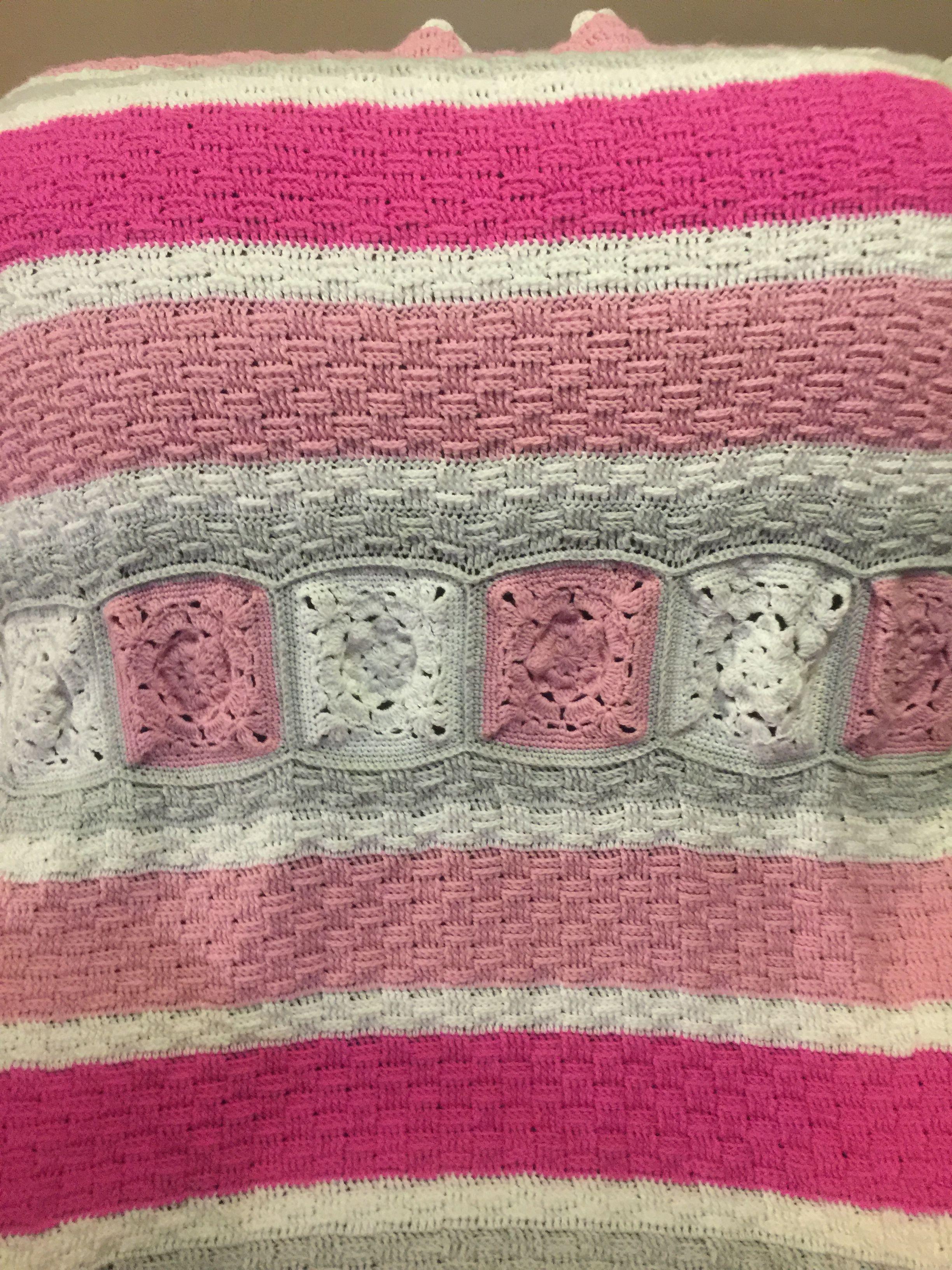 Magnolia Flower On Basket Weave Baby Blanket Crotchet Blanket Blanket Basket Weaving