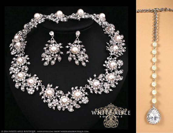 Pearl Wedding Jewelry Set, Vintage Inspired Pearl Bridal Jewelry Set ...