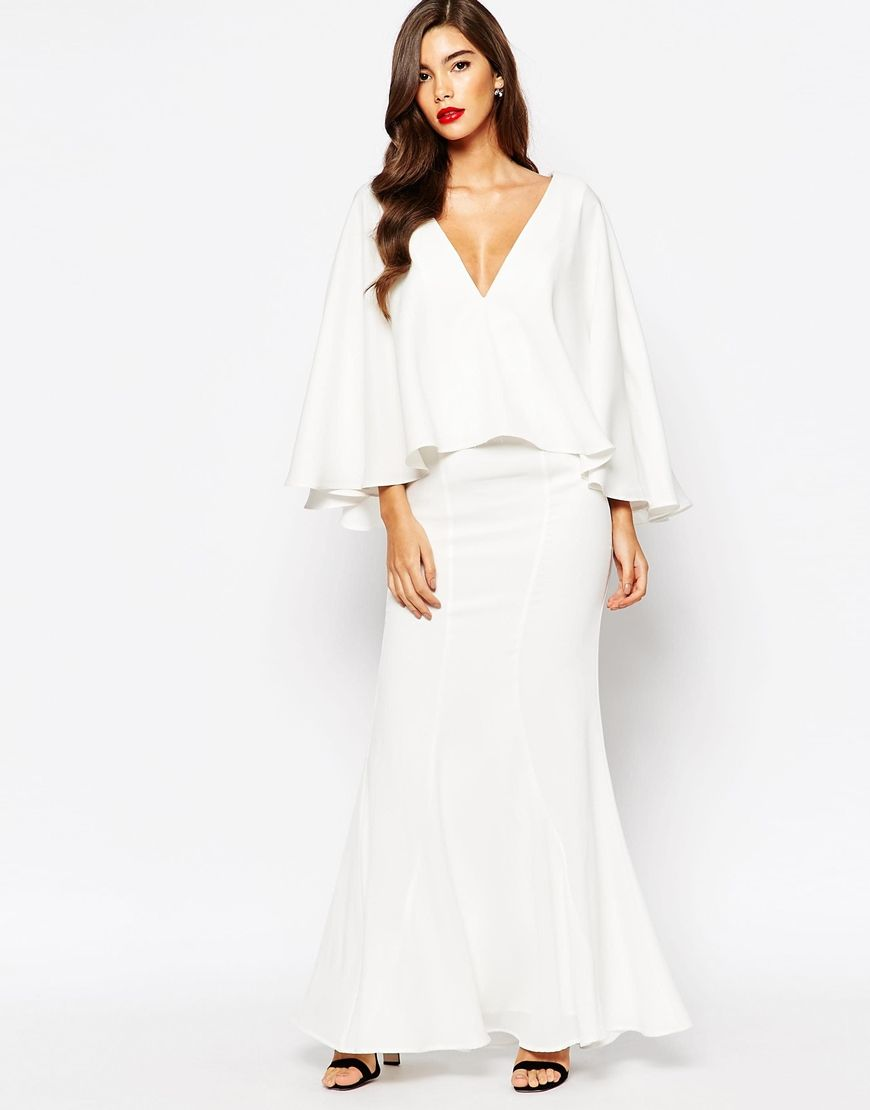 Jarlo makena plunge front maxi dress with exaggerated frill nye