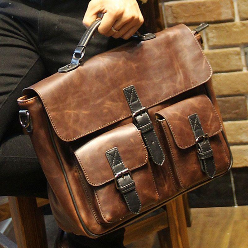 397063ed7ec 2017 new brown leather office bags for men designer briefcase male business  portfolio mens shoulder messenger bag handbag B00014