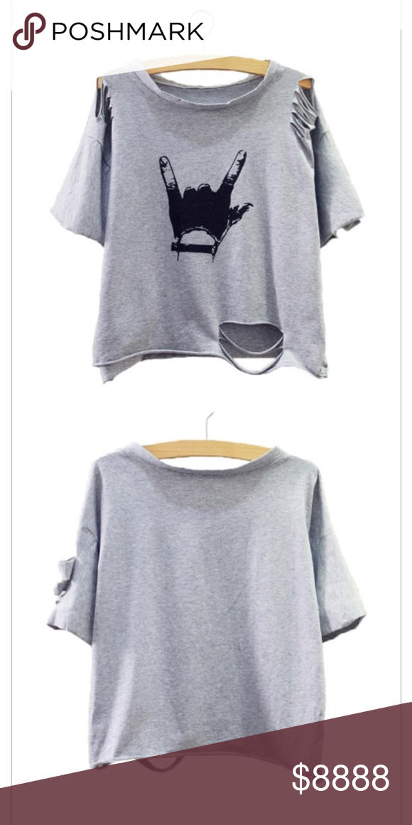 Sale Hang Loose Light Weight T Shirt Grey Fashion Clothes Ripped Shirts