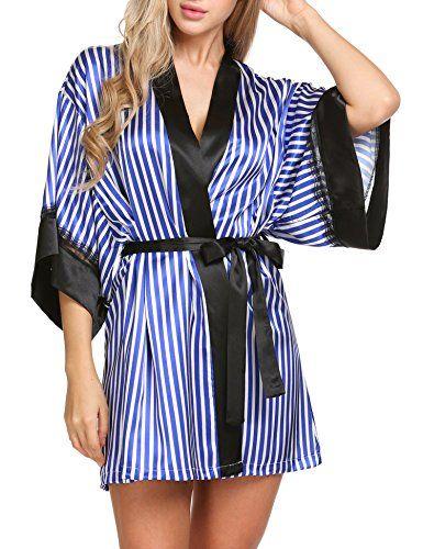 df18c76032e Hufcor Women s Lace Trim Kimono Robe Stripe Printed Nightwear Sleepwear  Short Robe