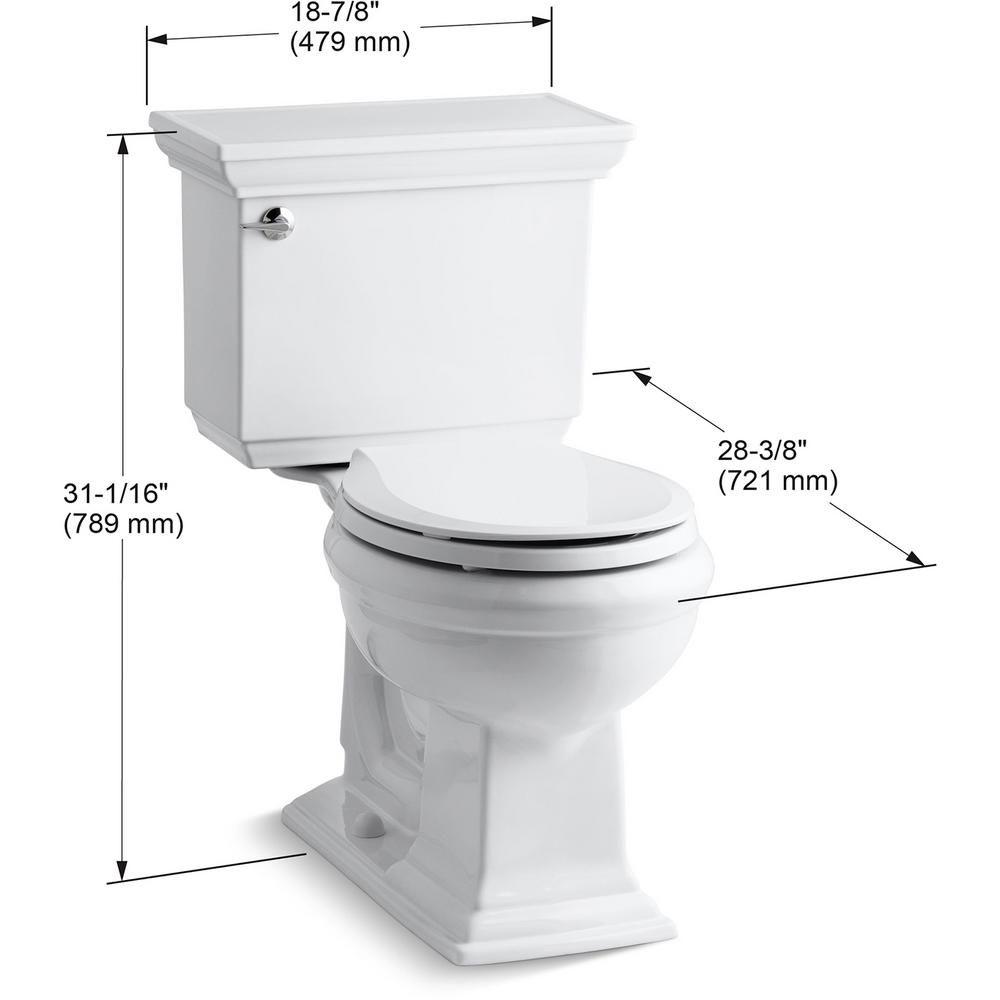 Kohler Memoirs Stately 2 Piece 1 28 Gpf Single Flush Round Toilet With Aquapiston Flushing Technology In White K 3933 0 The Home Depot Kohler Memoirs Water Sense Kohler