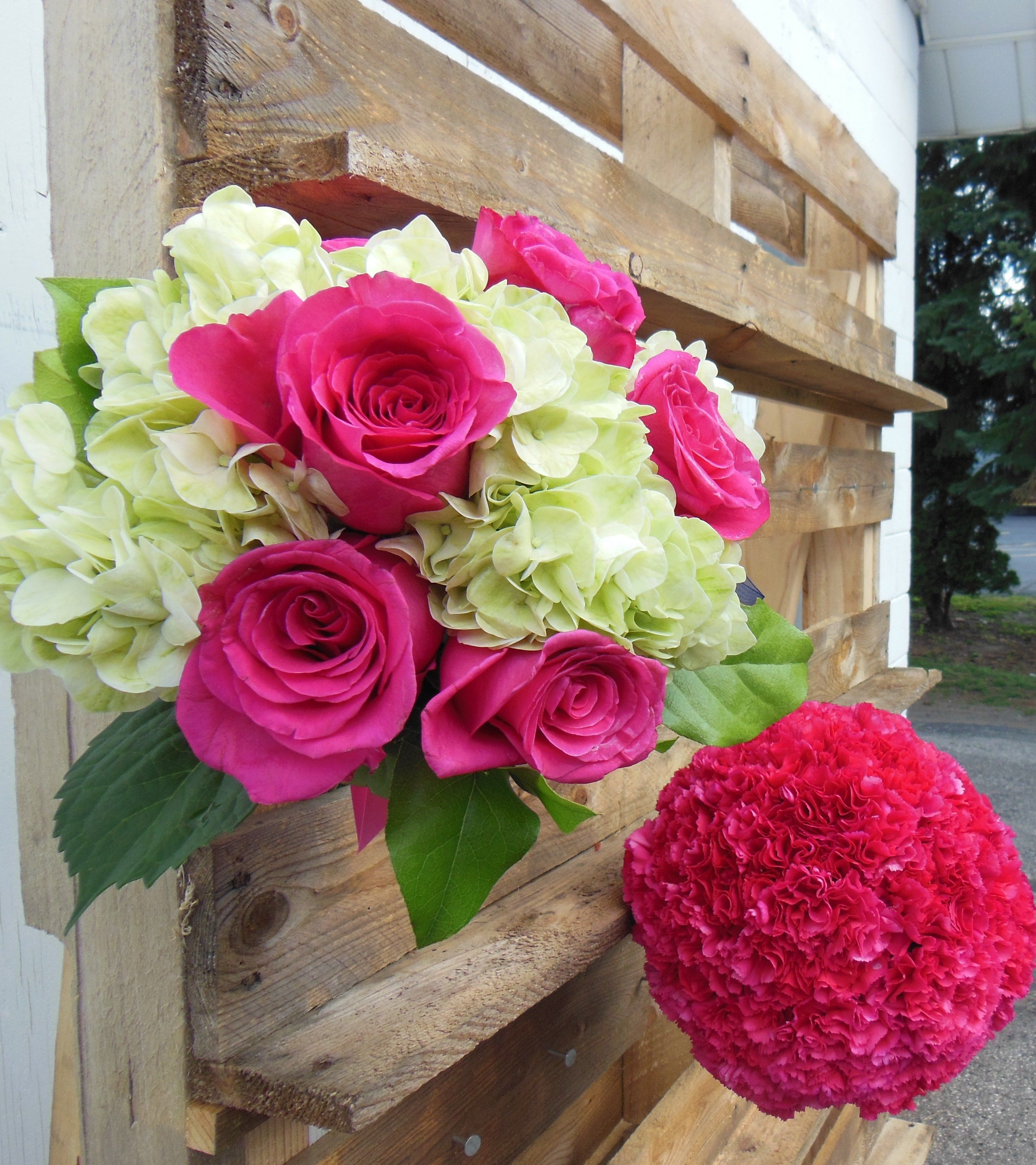 hot pink and green bridesmaids bouquet and pomander