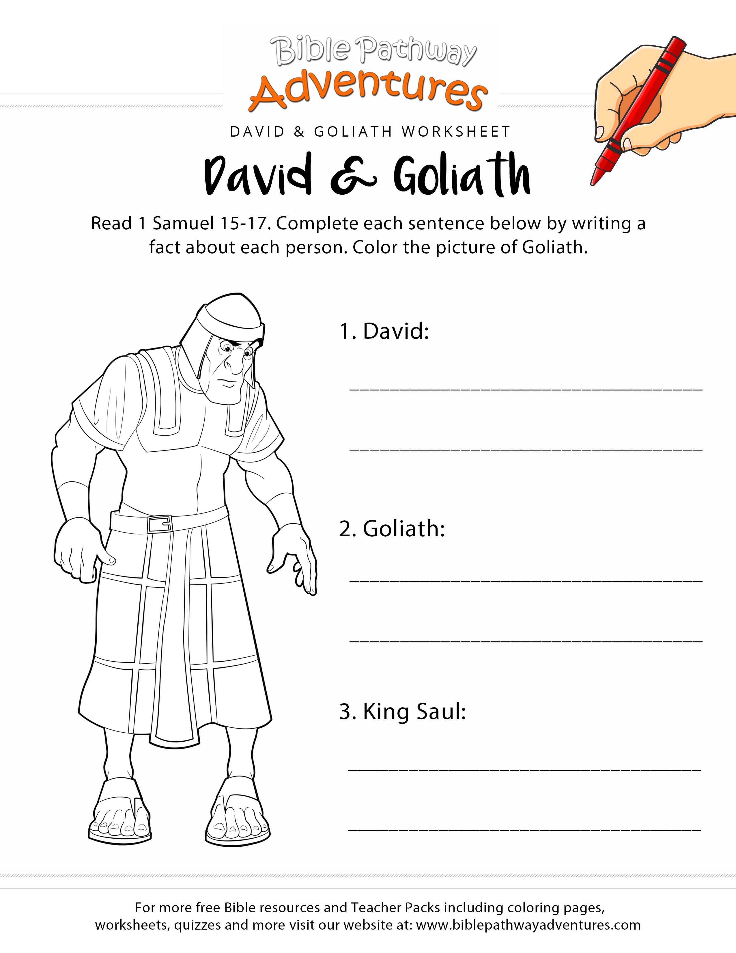 David and goliath free bible worksheet and coloring page printable bible activity sheet for homeschoolers sunday school and sabbath school students