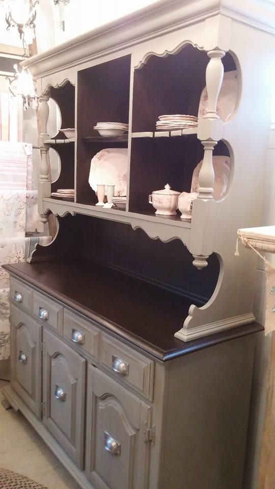 Old Maple China Cabinet Given A New Look With French Linen