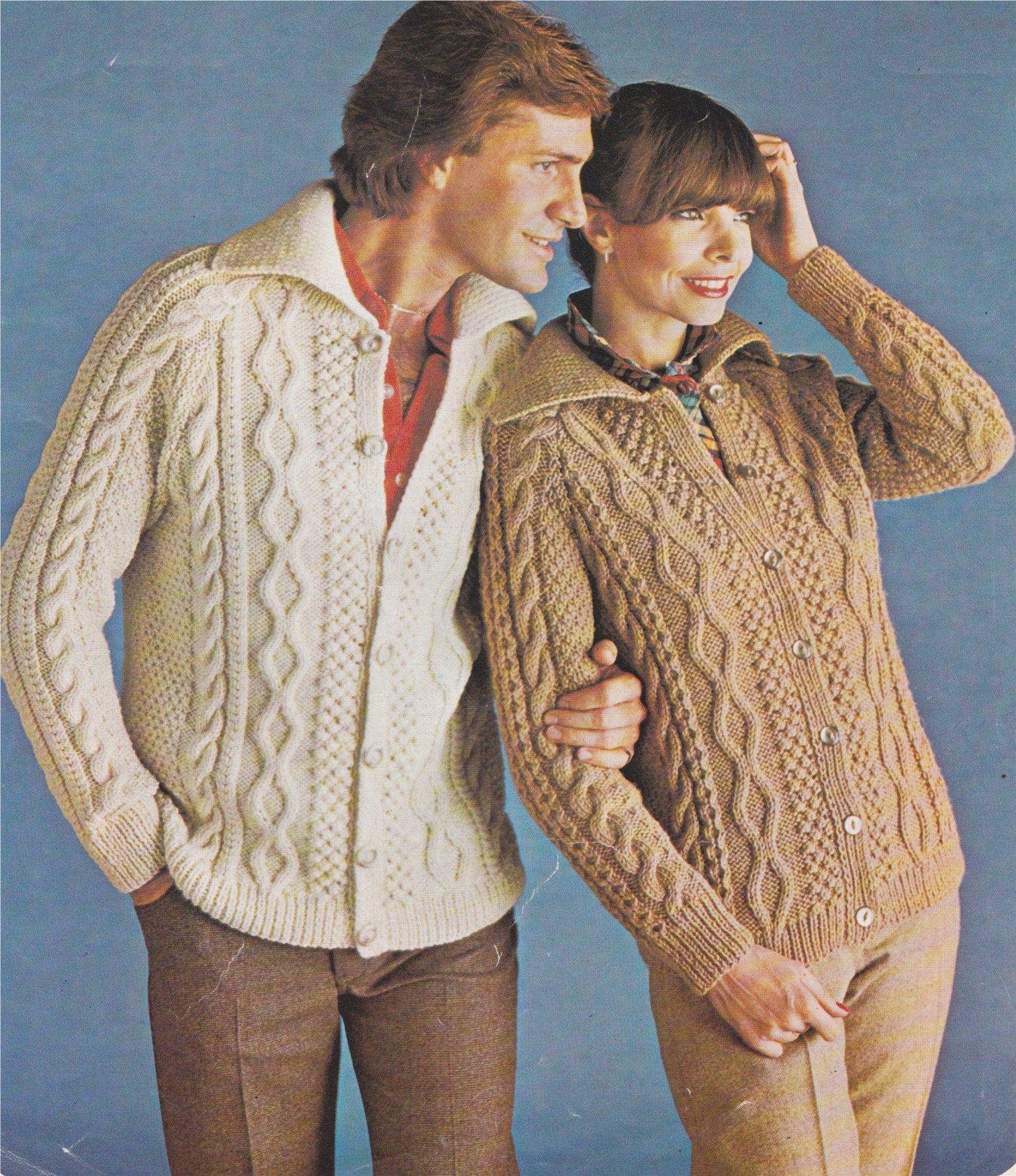 His and Hers Aran Cardigan Knitting Pattern PDF Ladies or ...