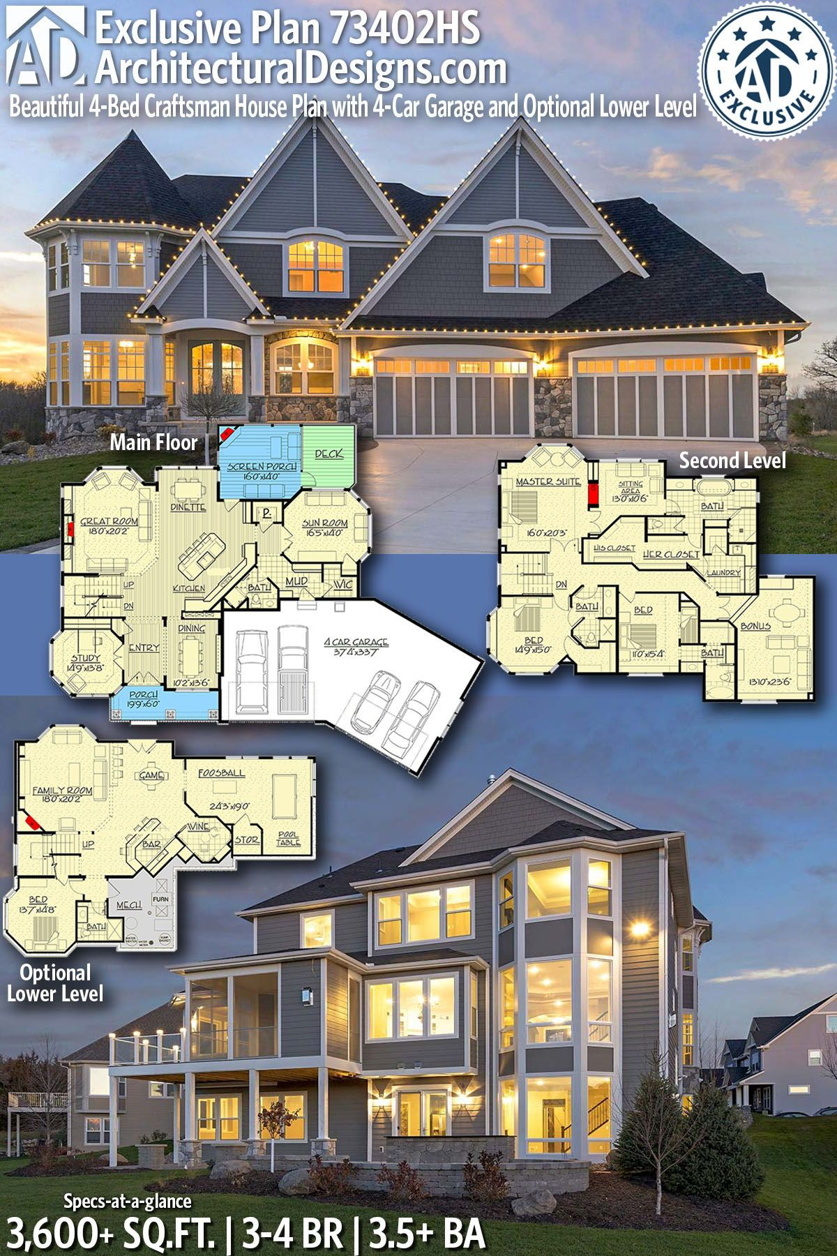 Architectural designs exclusive home plan hs gives you bedrooms baths also best homes for the sloping lot images in architecture rh pinterest