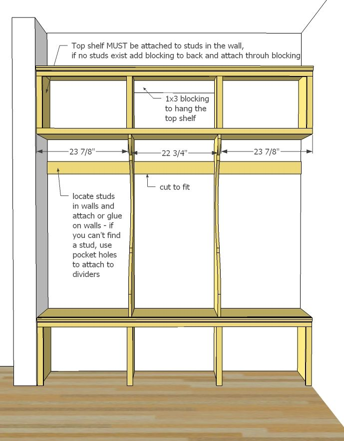Ana White Build a Smiling Mudroom – Garage Locker Plans