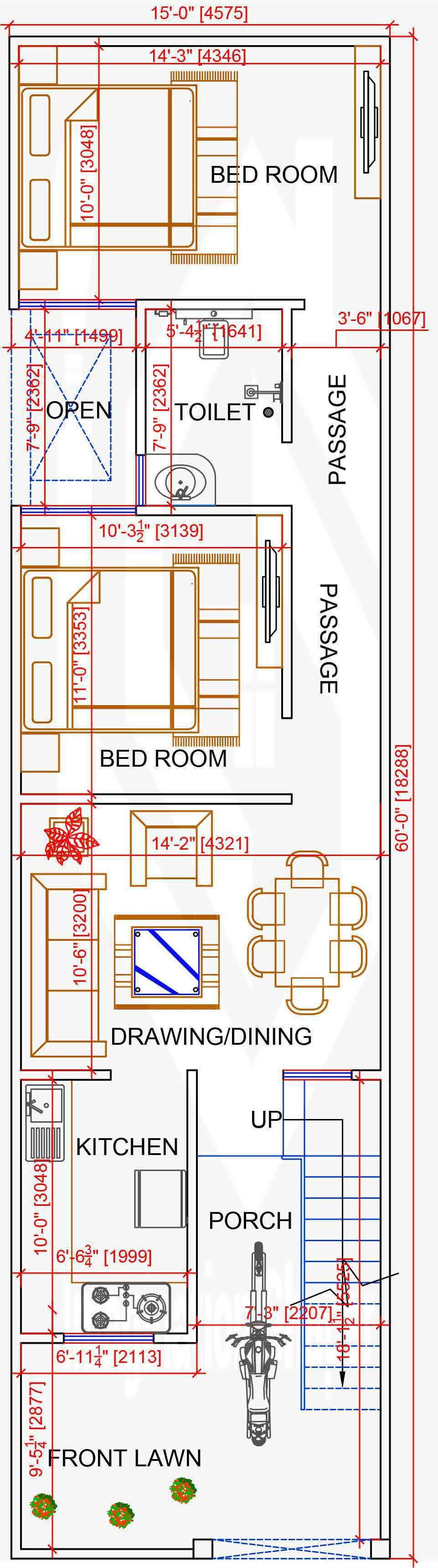 15x60 House Map In 2020 House Map 2bhk House Plan My House Plans