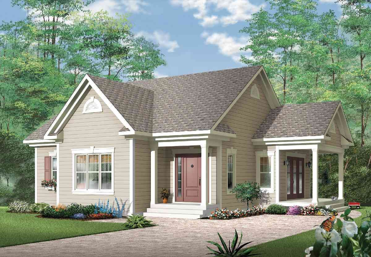 Plan 21497dr Affordable One Bedroom House Plan In 2021 One Bedroom House Plans One Bedroom House Country Style House Plans