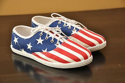 American Apparel American Flag Sneakers 5 Red White Blue Lace Up Tennis Shoes Sneakers Lace Up Shoes Blue Lace