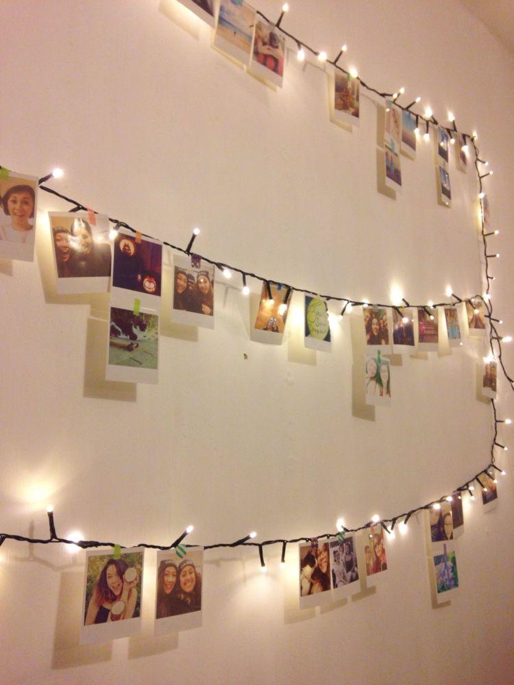 Elegant Polaroid Fotos Deko Beleuchtung Lichterkette Haengen Bilder Machen
