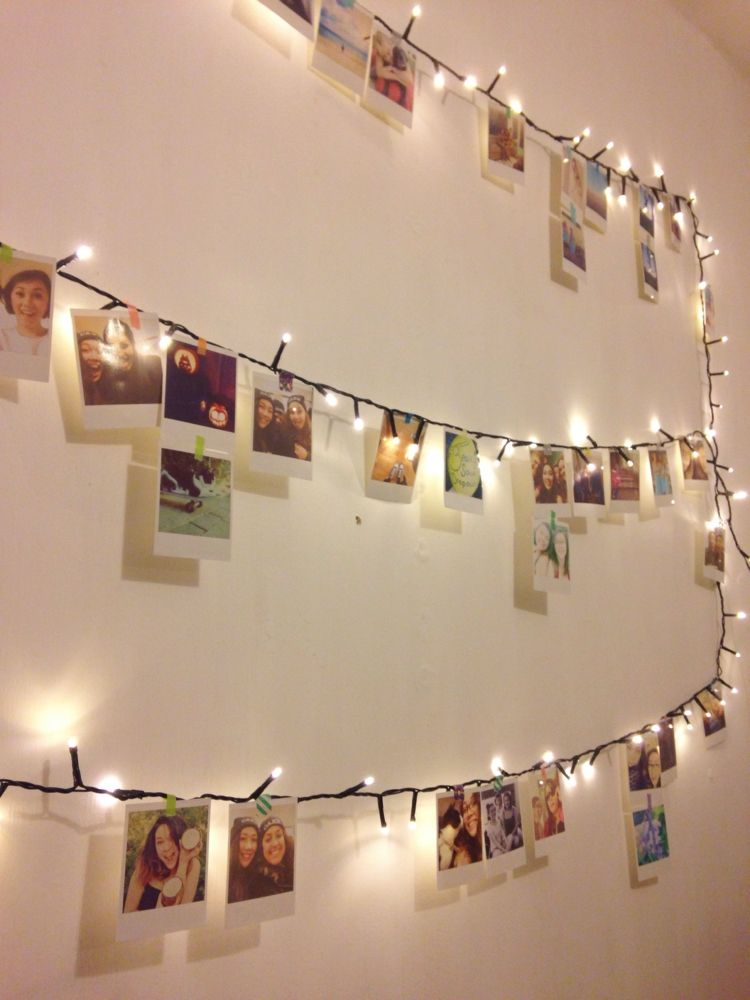 Polaroid Fotos Deko Beleuchtung Lichterkette Haengen Bilder Machen Great Ideas