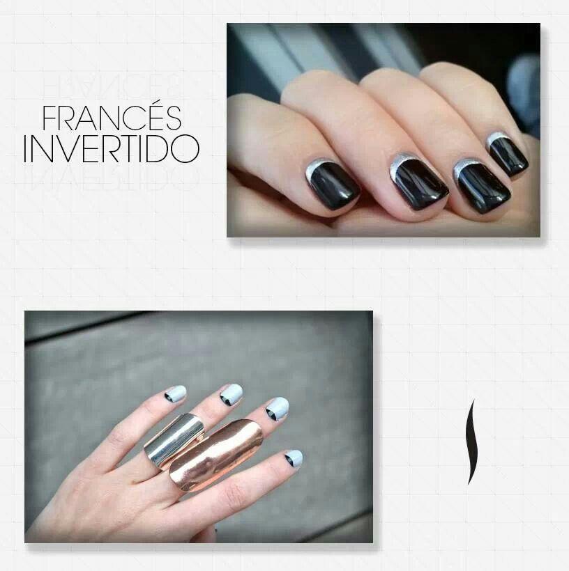 Francés invertido   Uñas francesas, Uñas, Disenos de unas