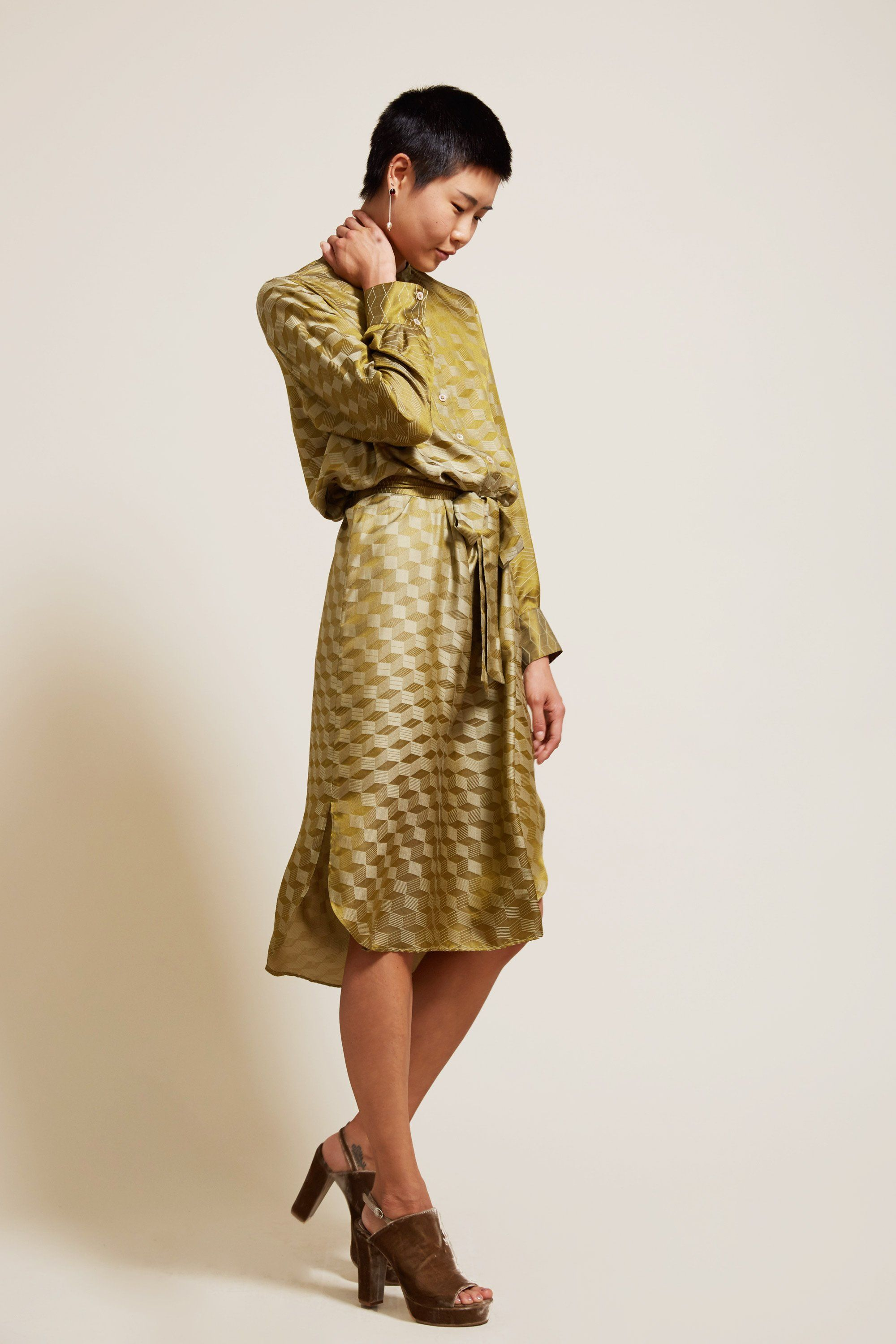 cdaf9ff4b0c Indress Lagos Jacquard Shirt Dress in Olive