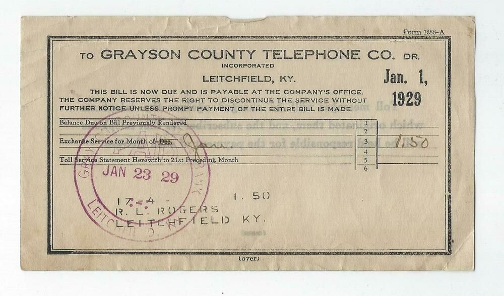 1929 Grayson County Telephone Bill Leitchfield Ky 1 50 R L