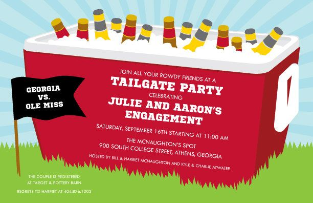 Sweet Wishes Tailgating Cooler Football Party Invitations Printed