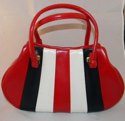 Vintage Mid Century Red White Blue Vinyl Vertical Striped Mod Handbag Purse