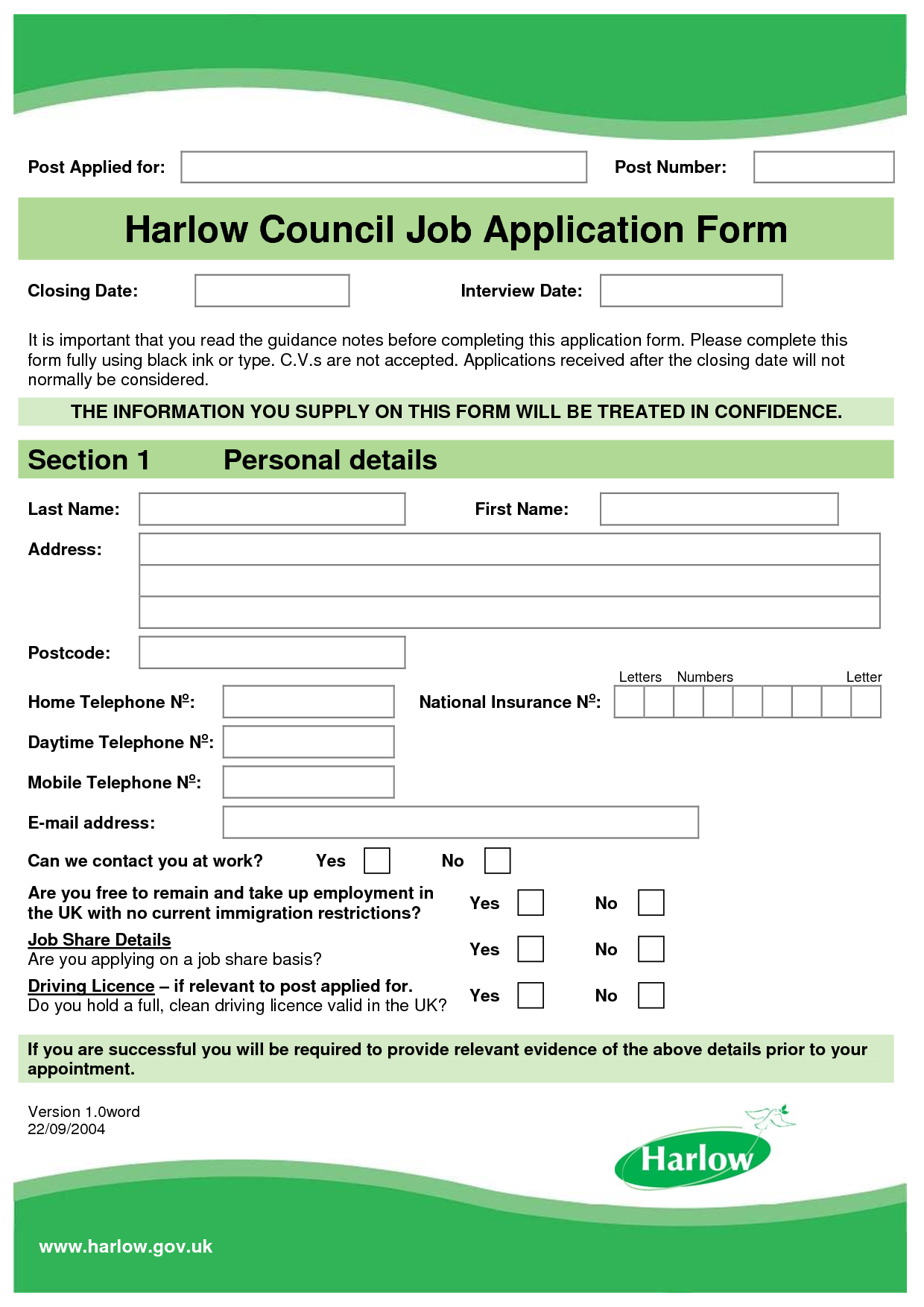Application Form Template Templates Collection Places