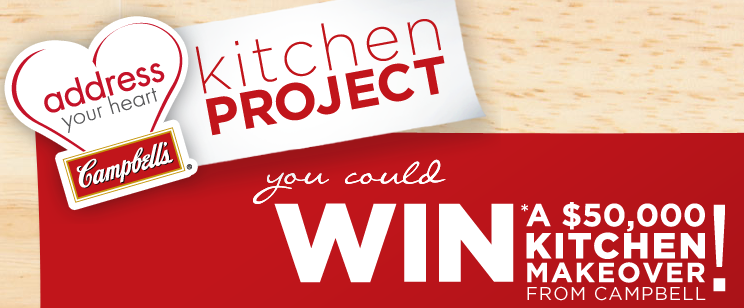 Campbell is organizing the Address Your Heart Kitchen Project Sweepstakes and is giving away the chance to win a $50,000 Kitchen Makeover!