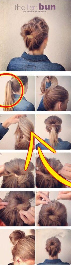 Fan Bun Click image to find more Hair & Beauty Pinterest pins Fan Bun Click i  F…