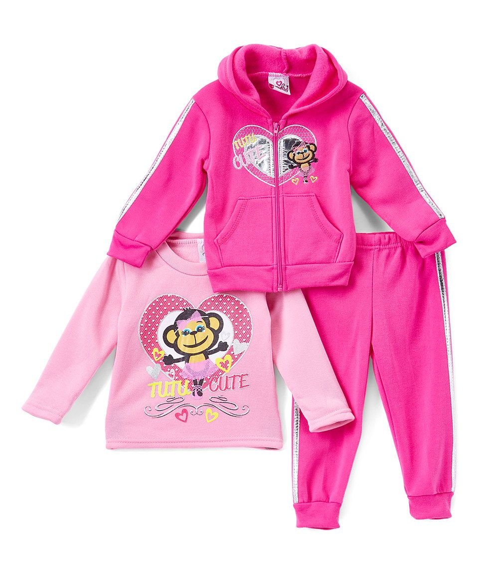 Another great find on #zulily! Real Love Hot Pink 'Tutu Cute' Fleece Hoodie Set - Infant, Toddler & Girls by Real Love #zulilyfinds
