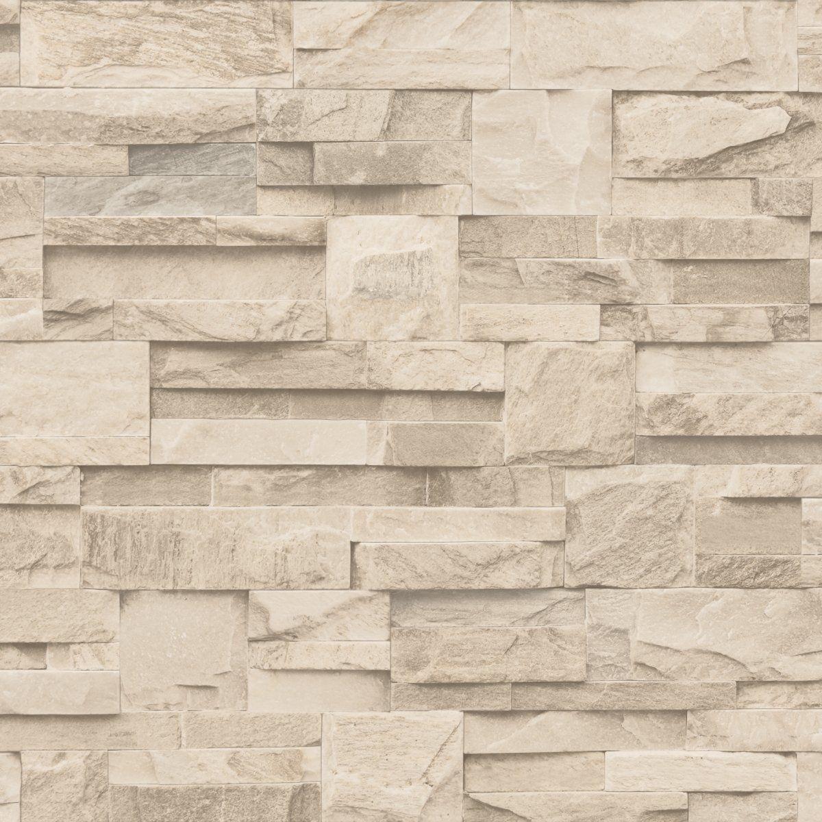 Vinyl for brick wall - New Luxury Muriva Slate Stone Brick Wall Effect Textured Vinyl Wallpaper Beige J27407 Amazon