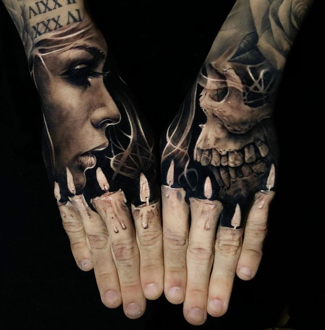 Finger Candles Portrait Skull Hand Tattoos Best Tattoo Design Ideas Hand Tattoos For Guys Hand Tattoos Candle Tattoo