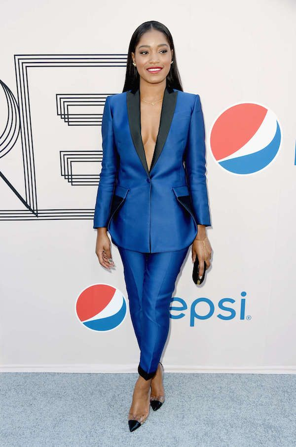 Get the Look: Keke Palmer's Debra Lee Pre-BET Awards Show Navy Blue and Black Antonio Berardi Satin Suit - The Fashion Bomb Blog : Celebrity...