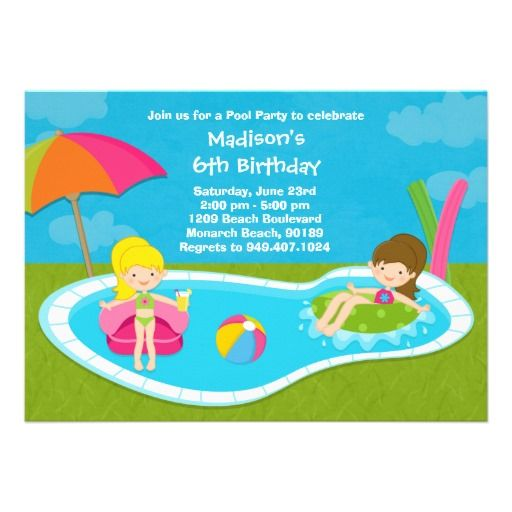 Pool Party Kids Birthday Party Invitation Zazzle Com In 2020 Pool Birthday Party Kids Birthday Party Invitations Pool Party Kids