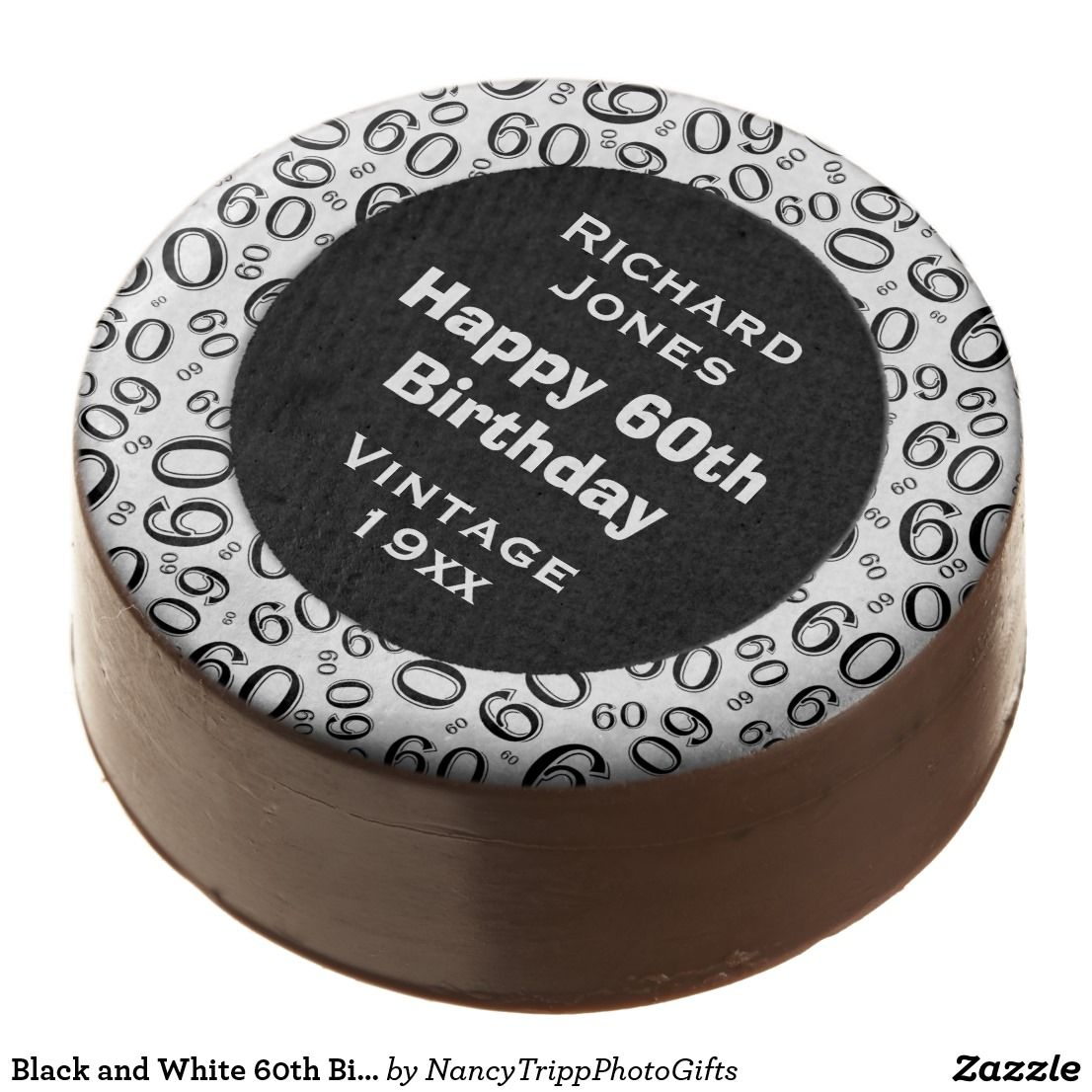 Black and White 60th Birthday Number Collage Choco