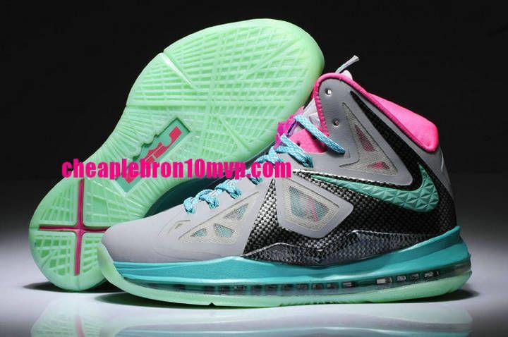 13fb6e978b4c Lebron 10 South Beach Womens Wolf Grey Black Pink Cheap Lebron James Shoes