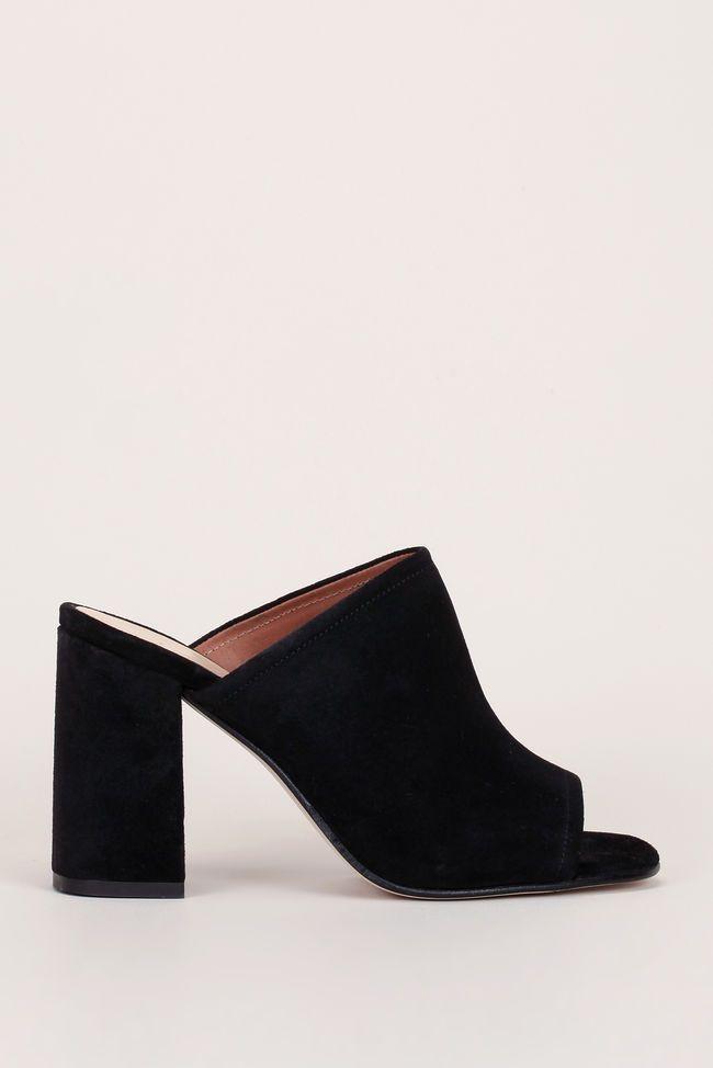 À Cuir Noir Suède 1Outfits Chaussures Demario Mules Talon En PkiuOTXZ