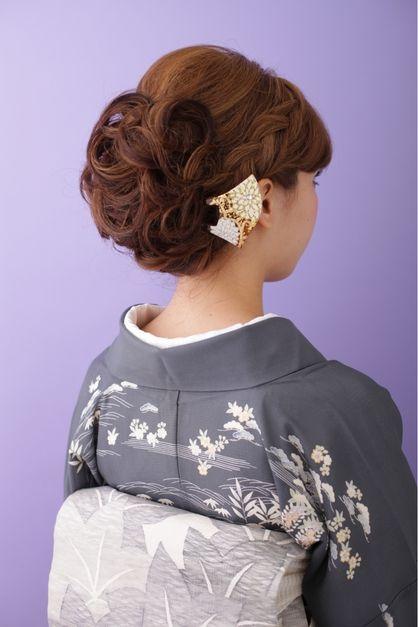 【和装】 編み込みアップスタイル ≪ichiko≫ ブレードのアップヘア, ヘアスタイル
