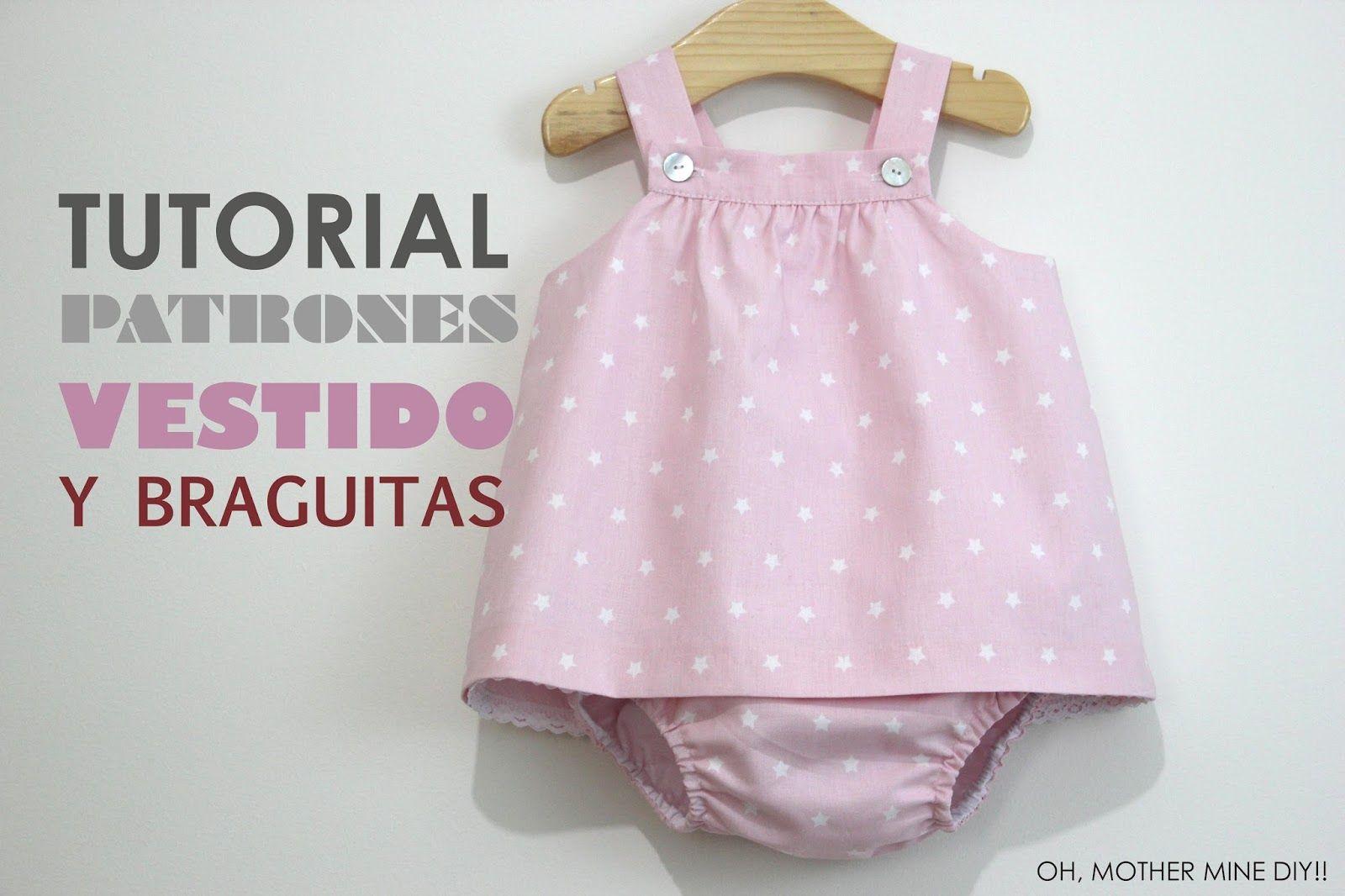 DIY Tutorial y patrones gratis VESTIDO y BRAGUITAS para bebé niñas ...