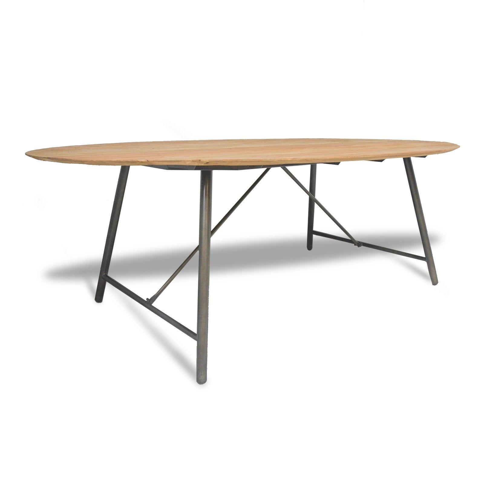 Imposante Table De Salle A Manger Ovale Plateau En Teck Recycle
