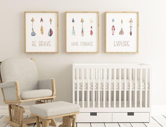 Nursery Wall Art/ Nursery Decor/ Be Brave/ Have Courage/   Nursery ...