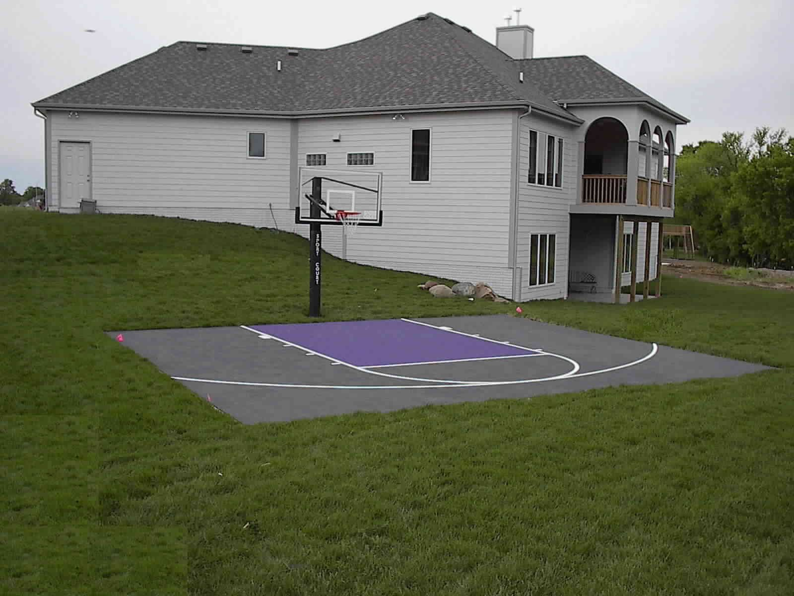Backyard sport court cost with basketball court surfaces Sport court pricing