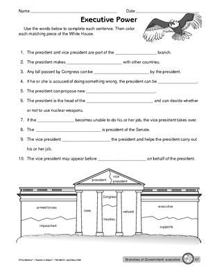 Worksheet: executive branch of government: | classroom fun ...