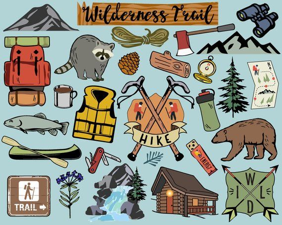 Camping wilderness. Hiking clipart clip art