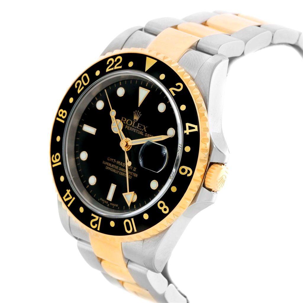 rolex gmt master ii yellow gold steel oyster bracelet mens