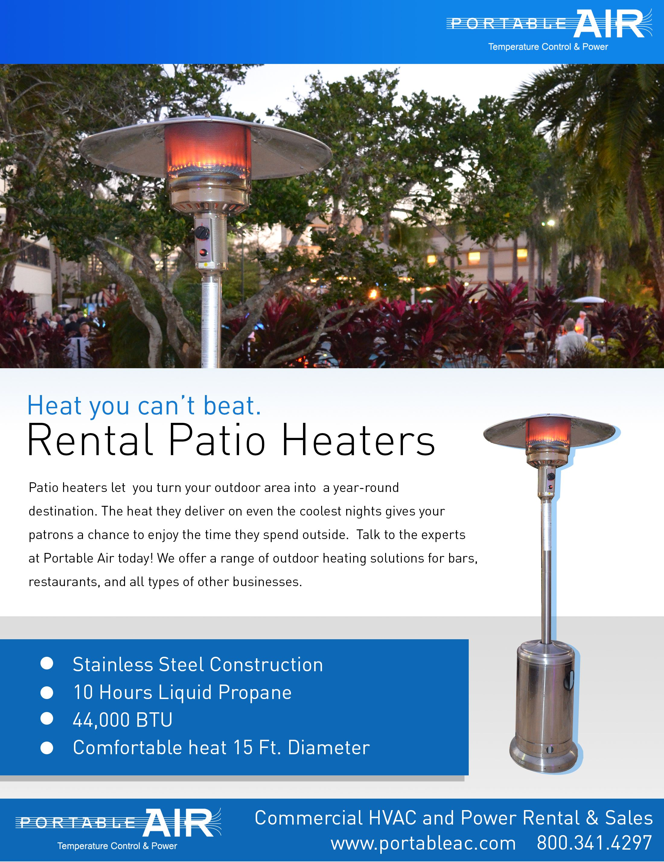 Patio Heater rentals make for a perfect outdoor event at any