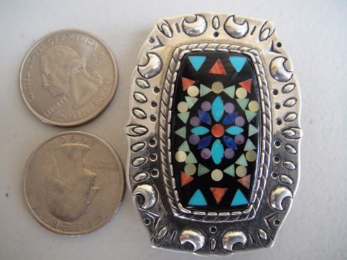 Carolyn-Pollack-Turquoise-Coral-Lapis-Sugilite-Gemstone-Inlay-Belt-Buckle