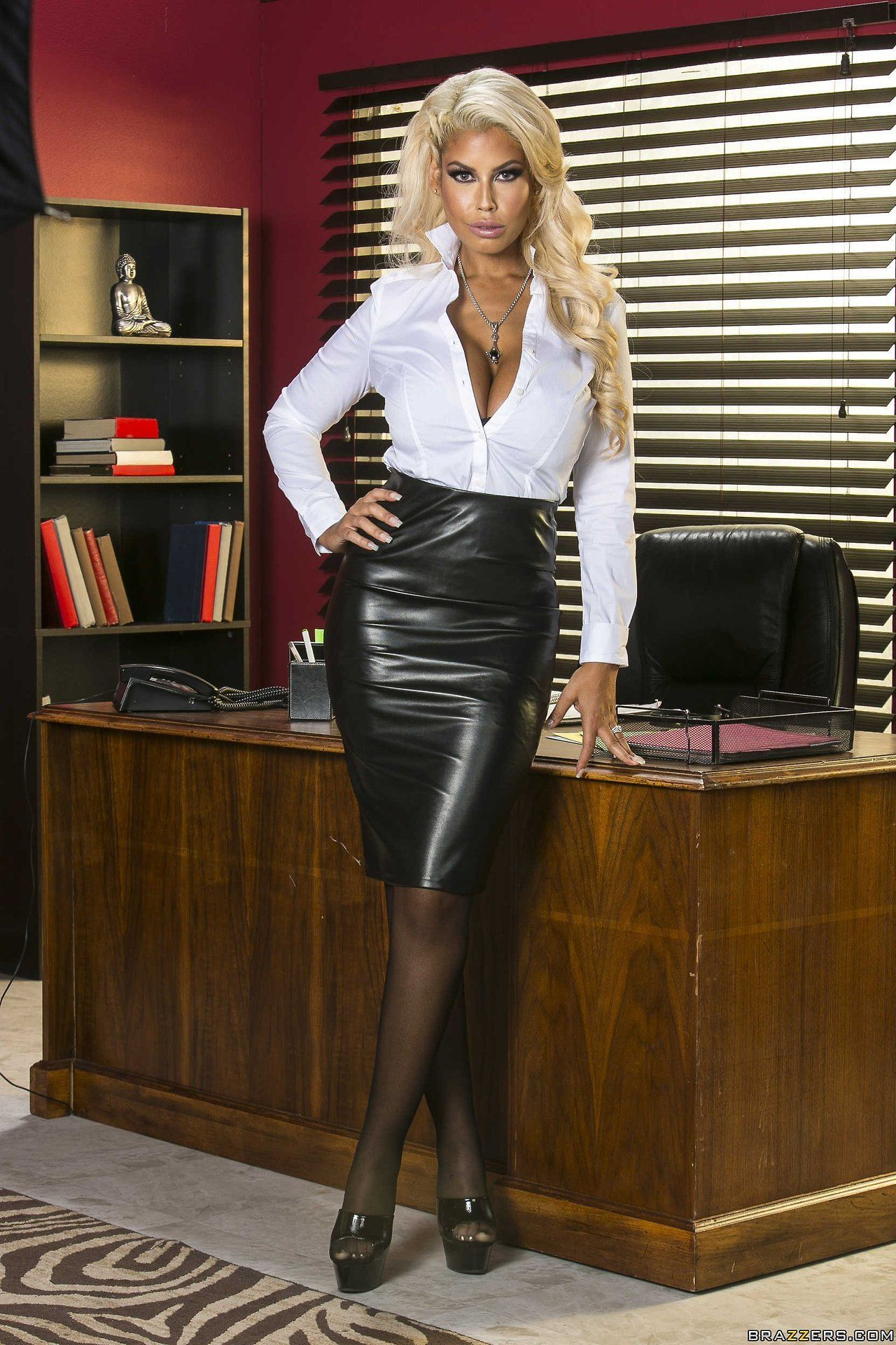 Big Boobs In Tight Blouses  Mightbull In 2018  Pinterest  Leather, Leather Skirt -2305