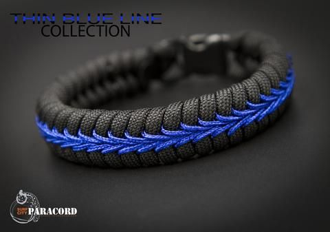 Back In Black Paracord Fishtail Bracelet With Black Center Stitch