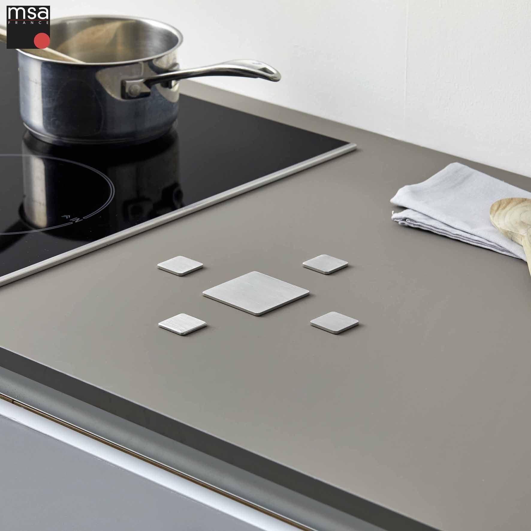 Hotte Sortant Du Plan De Travail repose-casserole inox brossé, 5 pièces carrées. pour reposer