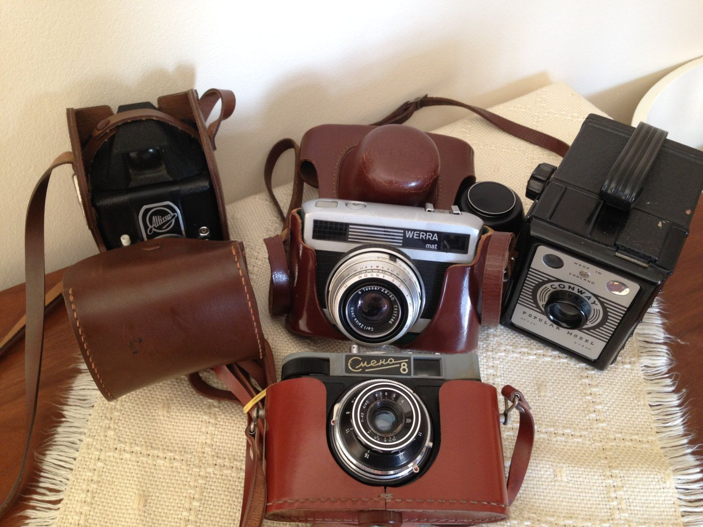 Vintage Camera Bulk Lot 4 Collectable Models Cccp English Vintage Camera Leather Case Fashion Box